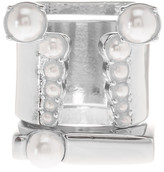 Steve Madden Synthetic Pearl Accented Geometric Ring Set - Set of 3 - Size 7