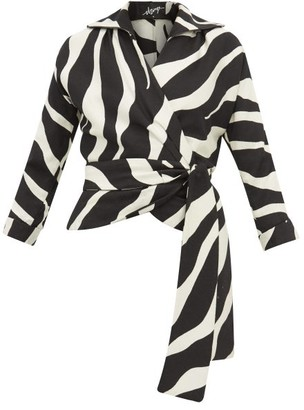 Elzinga - Zebra-jacquard Wrap Top - Black White