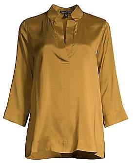Eileen Fisher Women's Split Mandarin Collar Silk Shirt