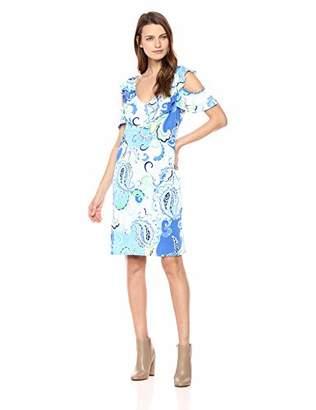 MSK Women's Cold Shoulder Flutter Sleeve Ruffle Dress and Paisley Print