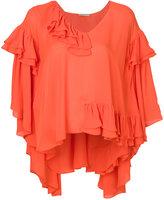Emilio Pucci ruffle cape blouse