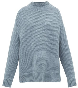 Raey Crew-neck Basketweave Wool Sweater - Blue