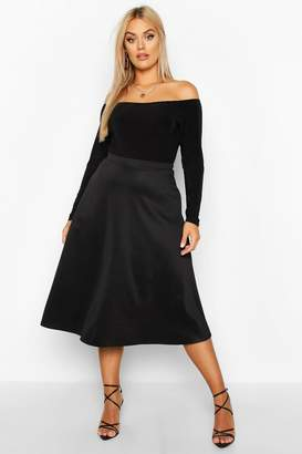 boohoo Plus Basic Plain Full Circle Midi Skater Skirt