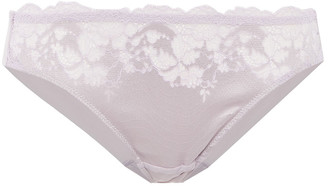 Wacoal Corded Lace, Satin-jacquard And Stretch-mesh Mid-rise Briefs