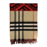 Burberry Double Cashmere Scarf With Logo Print And Check Pattern