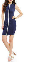 GUESS Bianca Scuba Zip Front Sheath Dress