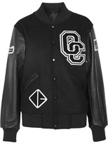Opening Ceremony Appliquéd Wool-blend Twill And Leather Bomber Jacket - Black