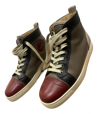 Christian Louboutin Louis Burgundy Leather Trainers
