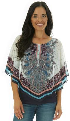 Apt. 9 Women's Scarf Print V-Front Poncho with Tank Top