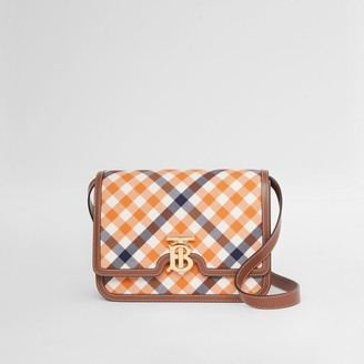 Burberry Medium Gingham Wool Cotton and Leather TB Bag