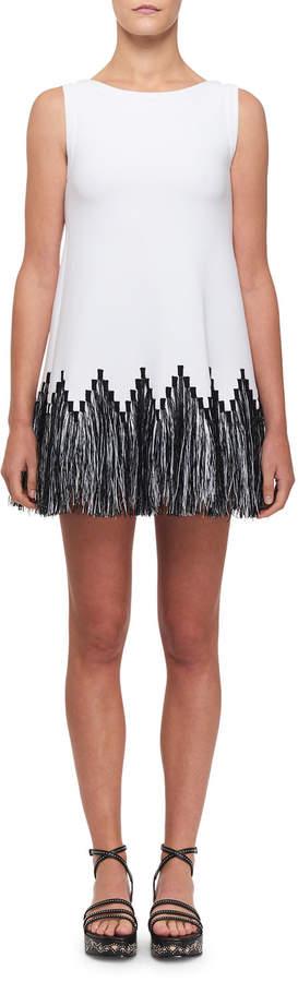 Alaia Raffia-Fringe Tunic Dress