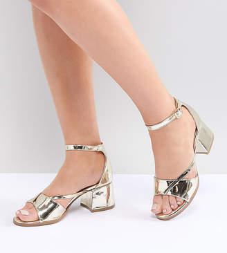 Lost Ink Wide Fit Rose Gold Block Heeled Sandals