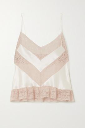 Loretta Caponi Lace-trimmed Silk-satin Camisole - Cream