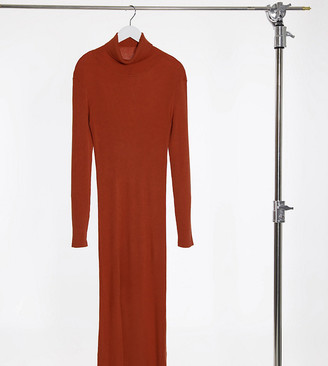 Y.A.S Tall Y.A.S. Tall long sleeve roll neck jumper dress in rust