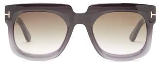 Tom Ford T-monogram Square Acetate Sunglasses - Womens - Black Grey