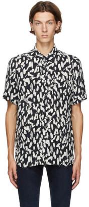 HUGO BOSS Black and Off-White Ekilio Short Sleeve Shirt