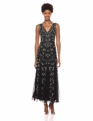 Pisarro Nights Women's V-Neck Beaded Dress with Godet Style Skirt