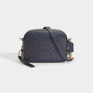 Coach Camera Bag In Blue Signature Coated Canvas