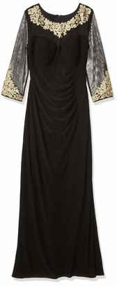Alex Evenings Women's a-Line Dress with Embroidered Neckline and Illusion Sleeves