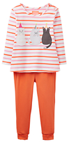 Joules Baby Joule Poppy Cat Top and Trousers Set, Coral
