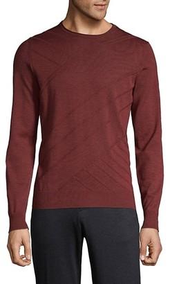 Corneliani Crew Tonal Stripe Wool Sweater