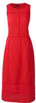 Lands' End Women's Petite Sleeveless Eyelet Mix Dress-Tangerine Zest