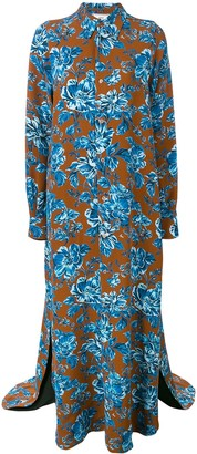 Ami Paris Long Dress Flower Shirt with Long Sleeves