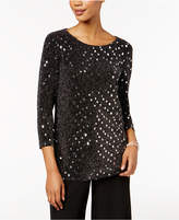 MSK Sequined Metallic Tulip-Back Top