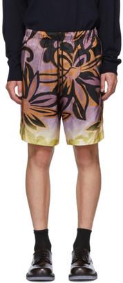 Dries Van Noten Purple and Orange Flower Drawstring Shorts
