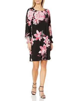 Nine West Women's 3/4 Printed ITY with Smocking at Sleeve