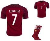 Soccer Authority Ronaldo Portugal National Home Kid Soccer Jersey & Matching Shorts & Socks Set