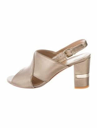 Stuart Weitzman Leather Cutout Accent Slingback Sandals Gold