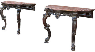 One Kings Lane Vintage Carved Anglo Indian Marble Tables - Set of 2 - de-cor