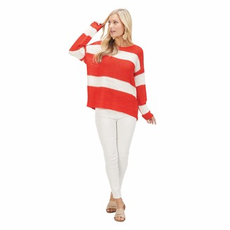 Mud Pie Women's Tommy Striped Pullover RED ML Medium-Large