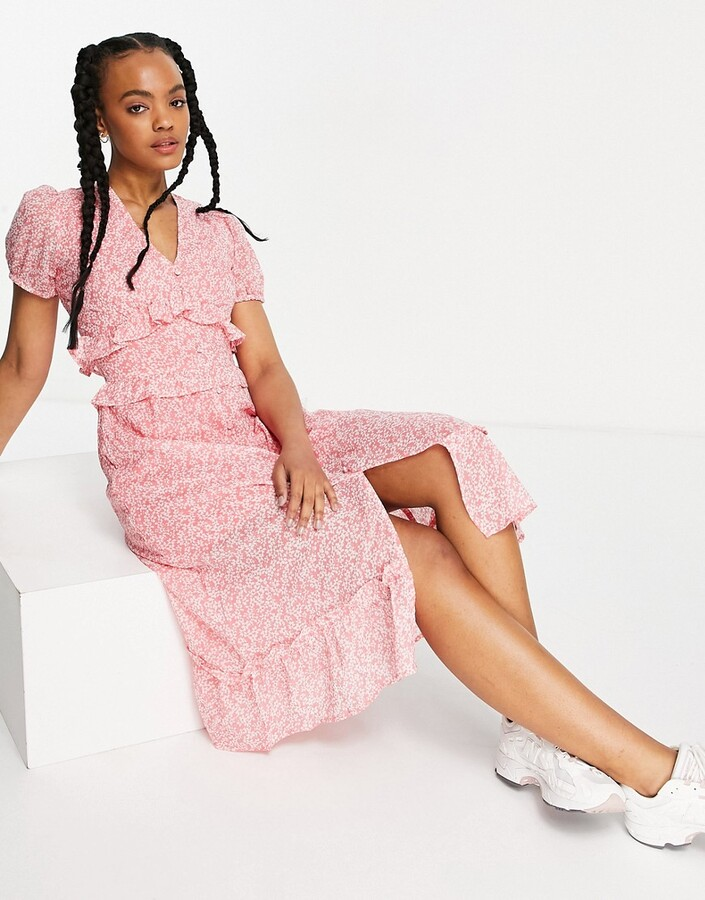 Influence ruffle front midi dress in floral print