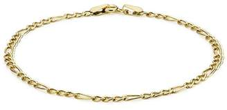 Carissima Gold Women's 9 ct Yellow Gold Hollow 2.4 mm Diamond Cut Figaro Chain Bracelet of Length 18 cm/7 Inch