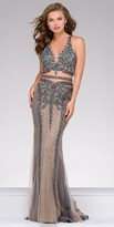 Jovani Sheer Beaded Sleeveless Column Prom Dress