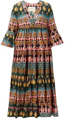La DoubleJ Jennifer Jane Abstract-print Silk Midi Dress - Multi