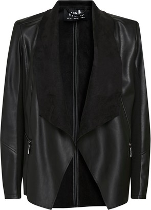 Wallis **TALL Black Faux Leather Waterfall Jacket