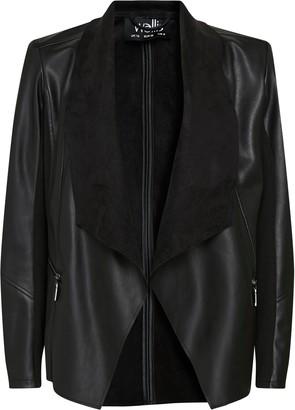 Wallis **TALL Black Faux Leather Waterfall Jacket