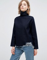WÅVEN Eleni Funnel Neck Top with Raw Hem