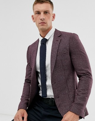 Asos Design DESIGN super skinny blazer with brushed PV micro check in burgundy-Red
