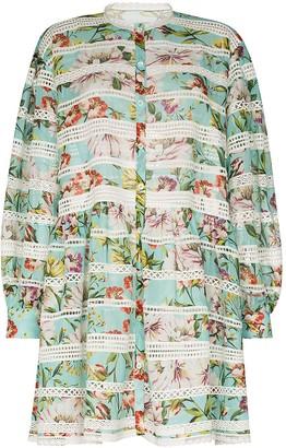 Dolce & Gabbana Panelled Floral-Print Shirt Dress
