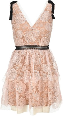 Self-Portrait Starlet Rose Lace Mini Dress