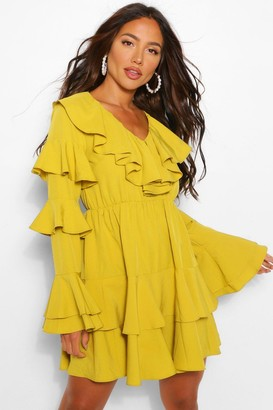 boohoo Extreme Ruffle Tiered Skater Dress