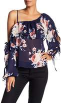 Flying Tomato One Shoulder Floral Print Ruffle Blouse