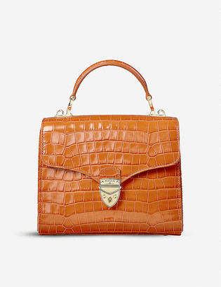 Aspinal of London Mayfair Midi croc-embossed leather bag