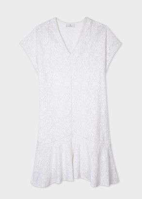 Paul Smith Women's White Floral Embroidered Cotton Ruffle Dress