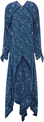 Altuzarra Asymmetric Printed Silk Crepe De Chine Maxi Dress