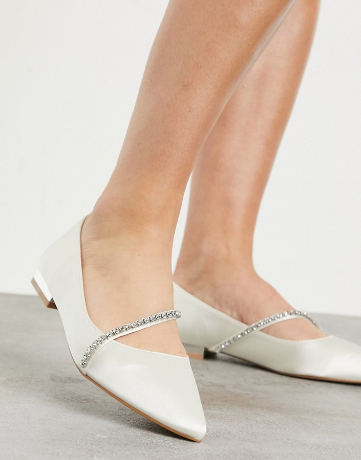 Be Mine Bridal Raey flat shoes with embellishment in ivory satin